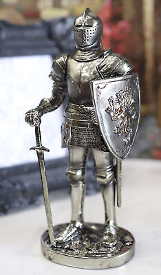 """Medieval Knight Decorative Figurine Standing Statue 7"""" Tall Swordman with Shield"""