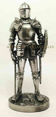 "Medieval Knight Decorative Standing Statue 7"" Tall Swordman and Shield Figurine"