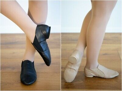 Slip On Jazz Shoes Split Sole Booties Black / Tan Childs US12 to Adults US8.5