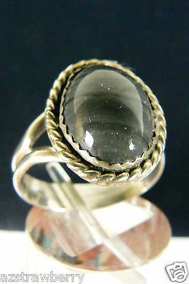 Sterling Silver 925 Genuine Gray Agate oval stone ring sz 7.5