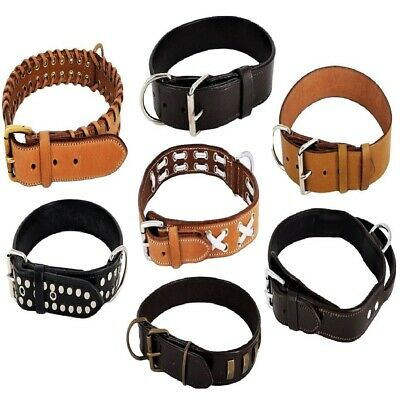 Genuine Real Strong LEATHER Heavy Duty Durable Collar Big LARGE Dog XS - XXXL