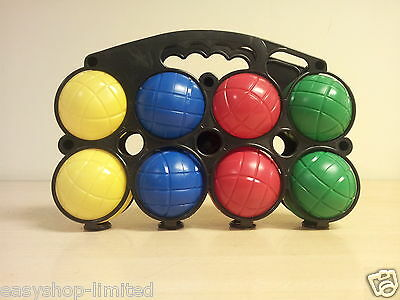 French Boules Petanque Set Of 8 Plastic Balls With Carry Case - New