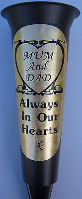 Black Memorial Grave Flower Vase Personalised HEART MUM And DAD In Loving Memory