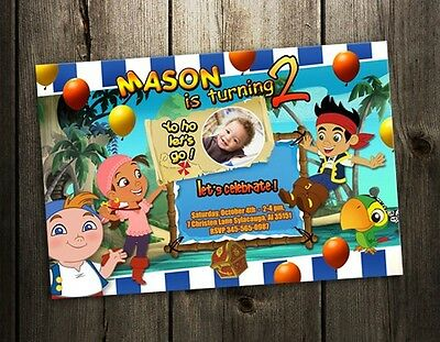 JAKE AND THE NEVERLAND BIRTHDAY PARTY INVITATION CARD CUSTOM INVITE & photo card