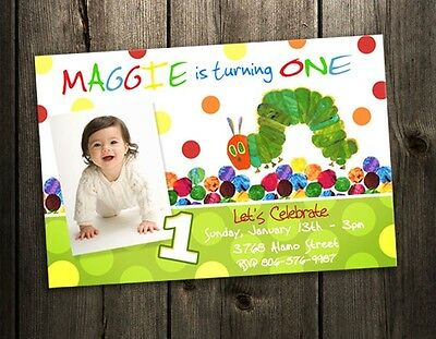 Very Hungry Caterpillar Birthday Party Invitation Custom Photo Custom 1St First