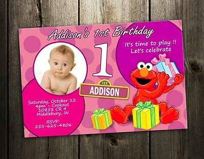 ELMO SESAME STREET PARTY INVITATION BIRTHDAY PHOTO BABY CUSTOM INVITE 1ST - pink