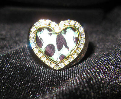 BETSEY JOHNSON RARE GREEN BLUE LEOPARD RING WITH BLING SIZE 7
