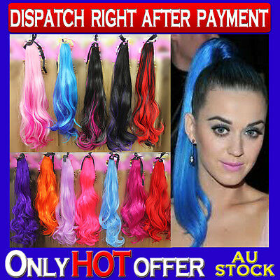 Colorful Ponytail Wave Long Cosplay Party Hair Extension Color Choices