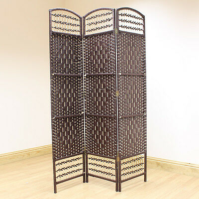 Brown 3 Panel Wicker Room Divider Hand Made Privacy Screen/Separator/Partition