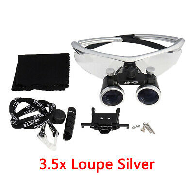 3.5x420mm Dental Loupes Surgical Binocular Loupe Magnifying Glasses Silver