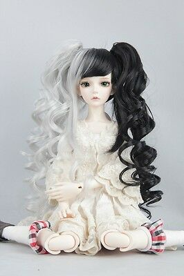 """BJD Doll Hair Wig 6-7"""" 1/6 SD DZ DOD LUTS Sliver and Black with ponytails"""