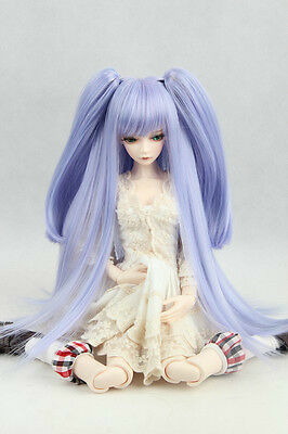 """BJD Doll Hair Wig 6-7"""" 1/6 SD DZ DOD LUTS Purple Blue Straight with ponytails"""