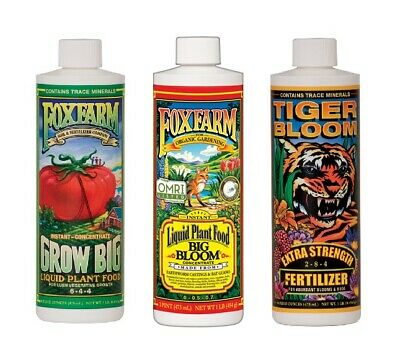 FOXFARM SOIL TRIO BIG BLOOM / GROW BIG / TIGER BLOOM 16oz Pints BAY HYDRO