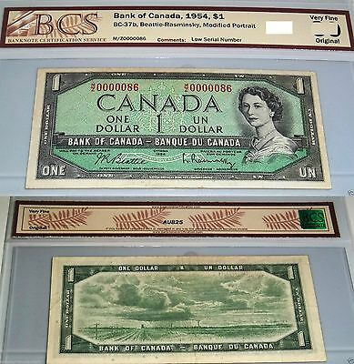 # 86 LOW SERIAL NUMBER 1954 $1 Bank Of Canada