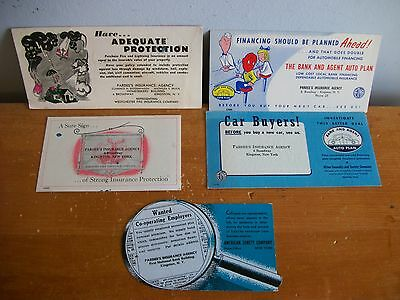 Lot of 5 Vintage INK BLOTTERS Pardee's Insurance, Kingston NY 1930s-1940s