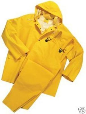 3-Piece Heavy Duty Yellow Rainsuit 35Mm Sizes S Thru 8Xl New W/Hood/Pants/Jacket