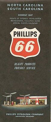 1962 PHILLIPS 66 Road Map NORTH + SOUTH CAROLINA Fort Sumter Cape Hatteras