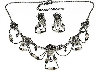 9f Vintage Drape Black Flower Swarovski Elements Crystal Floral Necklace Set -
