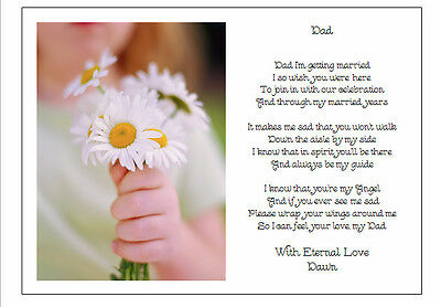 A4 Personalised Poem - To Father of the Brides on Wedding Day - Gravestone Gift