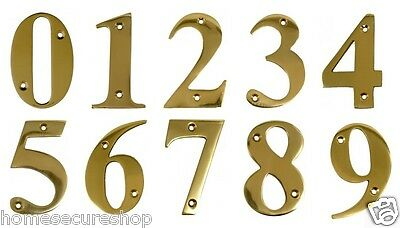 Door Numbers Brass Door Numerals In Polished Brass 1, 2, 3, 4, 5, 6, 7, 8, 9, 0