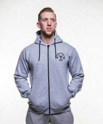 Muscle Works Gym London Hoodie Jumpers Full Slevee Mens Clothing Gym Wear Gray