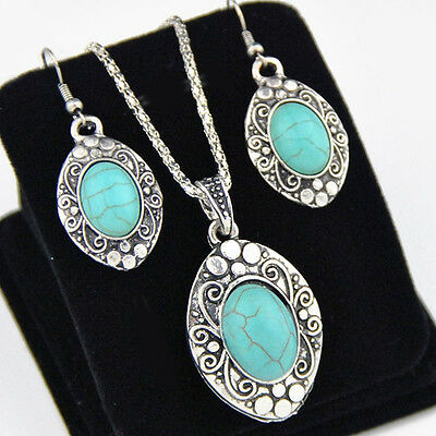 Retro Tibetan Style Turquoise Oval Necklace Earrings SETS XL292