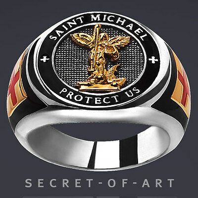 St. Saint Michael Ring Archangel Protect Us Silver 925 with 24K-GoldPlated Parts
