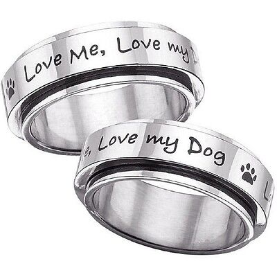 Love my Dog Paw Print Ring Stainless Steel Spinner SZ 5-12 Silver Black