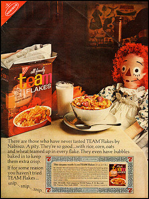 1966 Vintage ad for Nabisco Team Flakes Cereal (110712)