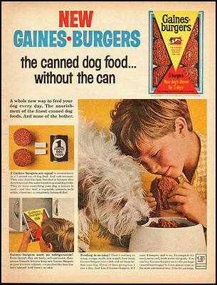 New Gaines Burgers/ 1963 Vintage ad/ Cute dog in ad (020713)