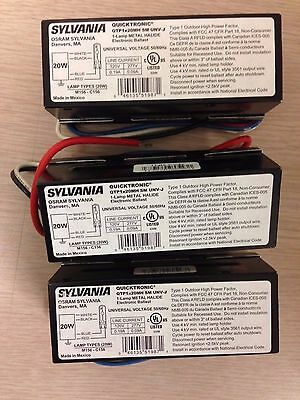 3 PIECES SYLVANIA QTP1x20MH  SM UNV- J 51987 ONE LAMP MH ELECTRONIC BALLAST