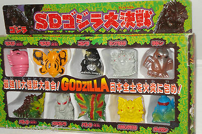 Godzilla Japan Sd Vinyl Mini Figure 10Pc Box Set Finger Puppets Shoshingeki+