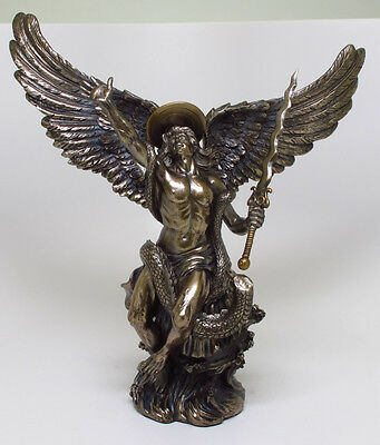 Christianity Figurine Decor Archangel Saint Michael Defeat Dragon Satan Lucifer