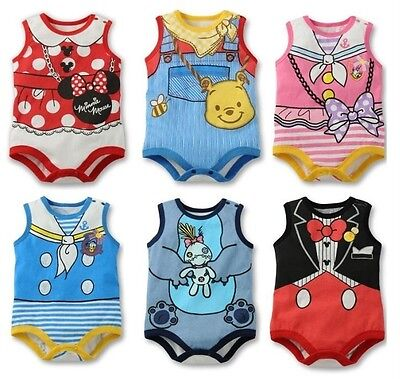 New Baby Boys Girls Disney Costume Romper One Piece Clothes Size 0,1,2 Pink Blue