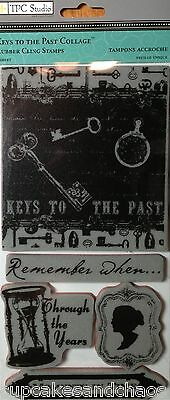 TPC STUDIO KEYS TO THE PAST COLLAGE Rubber Cling Stamp 2012015