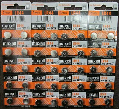 40 Fresh Genuine Maxell LR44 (A76) 357 1.5V Alkaline Coin Cell Button Batteries