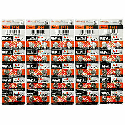 50x Maxell LR44 A76 AG13 357 303 SR44 L1154 Alkaline Battery Made in Japan NEW