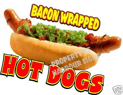 """Hot Dogs Bacon Wrapped Concession Decal 10"""" Restaurant Food Truck Vinyl Menu"""