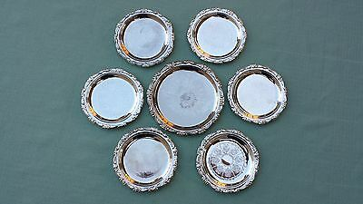 SILVER PLATE EP. ON. STEEL MADE IN HONG KONG, VINTAGE COASTER 7 Pcs.