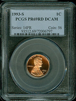 1993-S Lincoln Cent Pcgs  Pr69Dcam Red Penny 2Nd Finest Registry