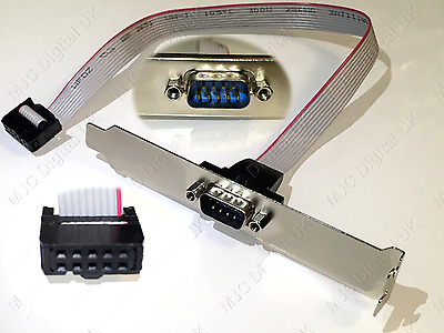 SERIAL 9PIN RS232 DB9 MOTHERBOARD COM PORT RIBBON CABLE CONNECTOR BRACKET for PC