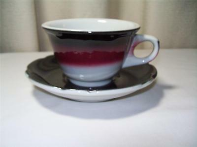 Jackson Custom China Restaurant Ware Cup & Saucer Airbrushed Red Black July 1974