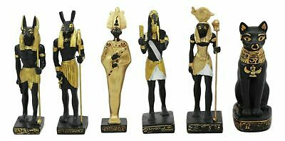 Set Of 6 Classic Egyptian Gods Anubis Osiris Seth Horus Bastet Thoth Miniatures