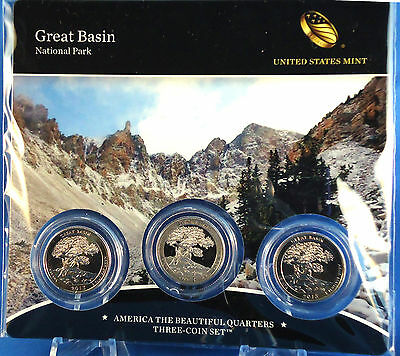 2013 25C Great Basin National Park 3-Coin Mint Set (PD&S coins) with COA