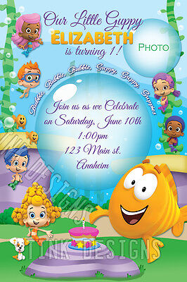 Bubble Guppies birthday Invitations custom personalized fish sea ocean guppy