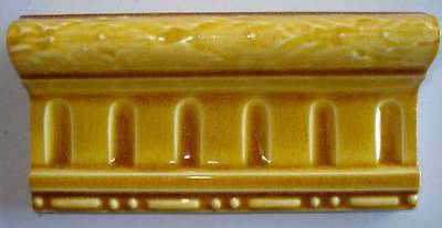Art Nouveau original period majolica border tile OLD GOLD 6'' x 3''