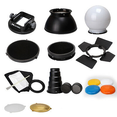 Flash Accessories Kit (Barndoor/snoot/softbox/honeycomb/beauty disc/diffuser) K9