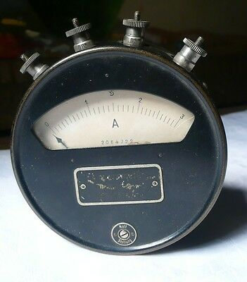 Antique german amperemeter direct current made of metal and glass (s5885)