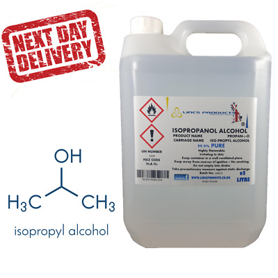 5 Litre Ipa Isopropyl Alcohol Isopropanol 99.9% Pure-Next Working Day Delivery