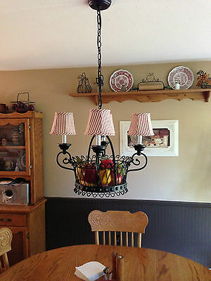 "French Country Basket Chandelier w NEW red ticking 6"" shades for summer!!"